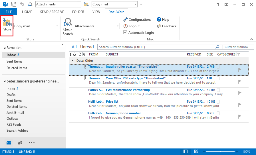 Emailmanagement Connect to Outlook