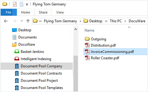The document name will also be shown as file name when viewing it in Windows Explorer Client