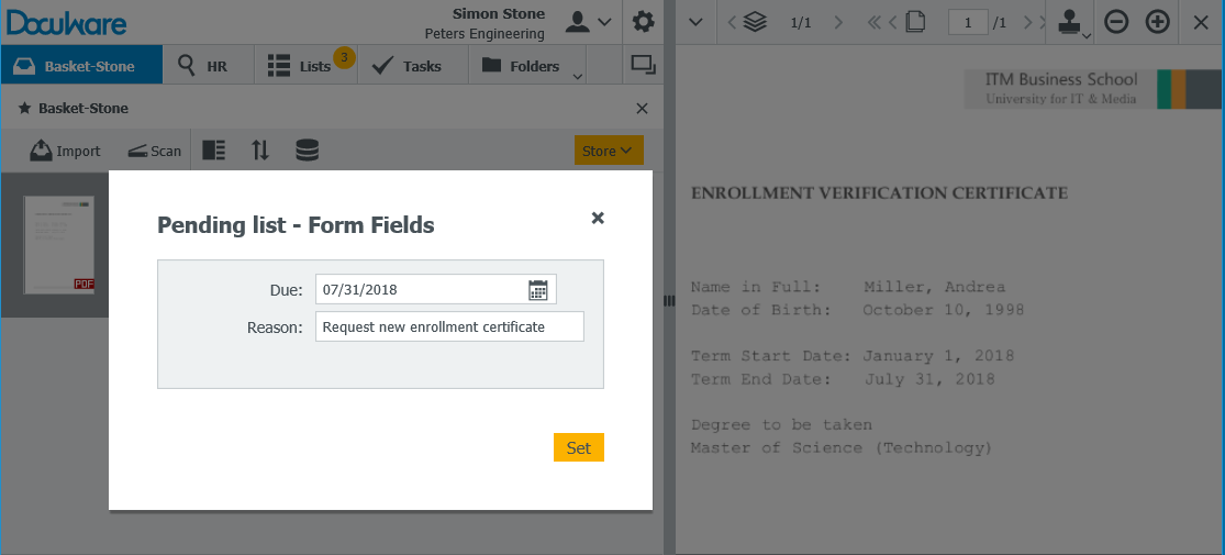 An enrollment certificate that is stamped for resubmission becomes part of your pending task list