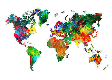 Colorful painting of the global continents
