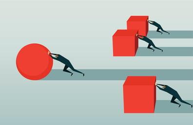 graphic of men pushing blocks and one pushing a circle