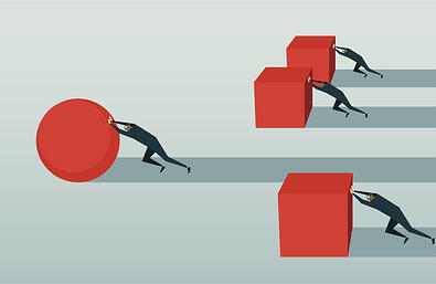 graphic of men pushing blocks and one pushing a circle