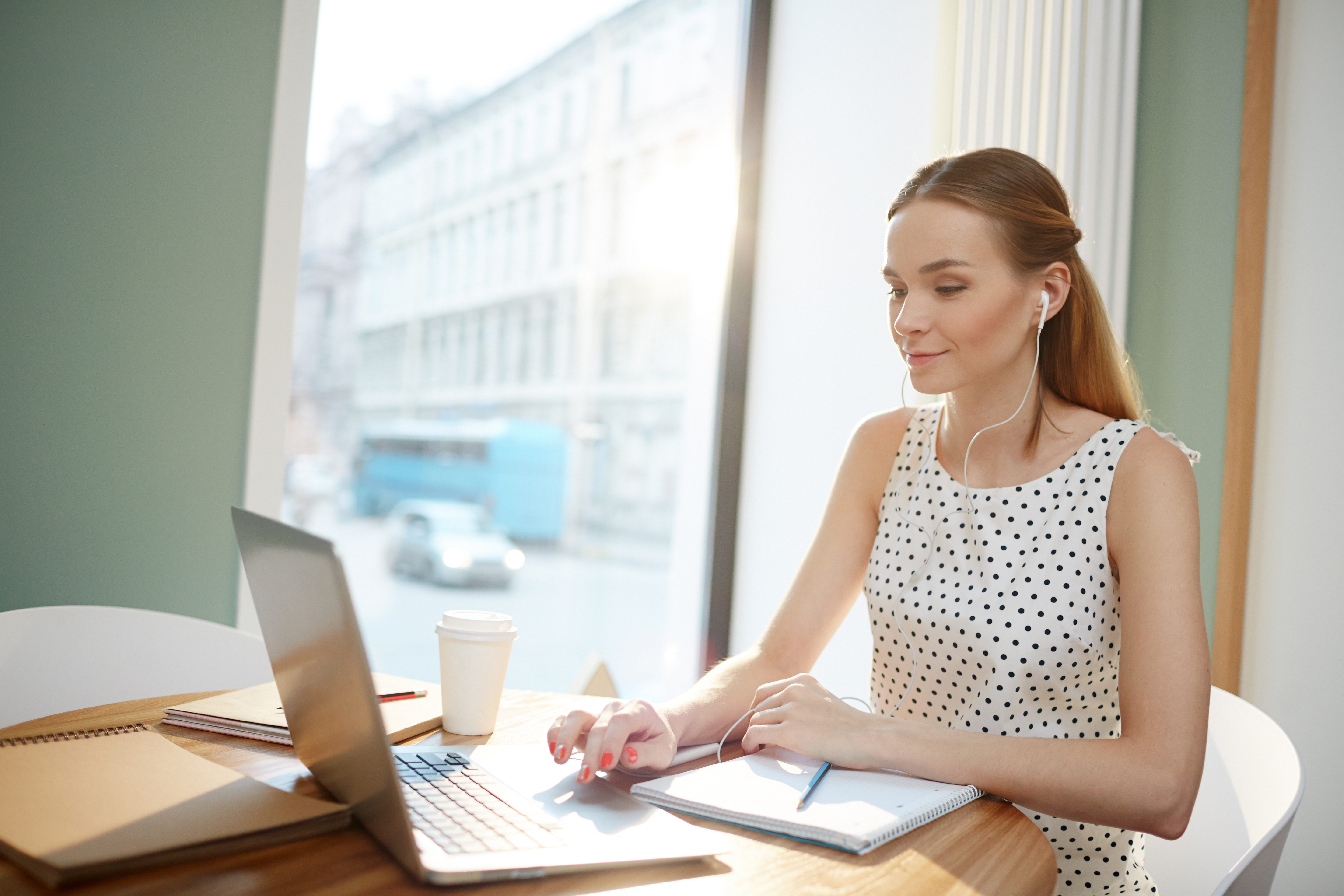 Female employee working remotely