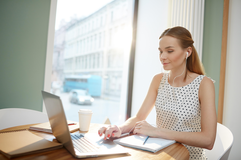 Female employee working remotely